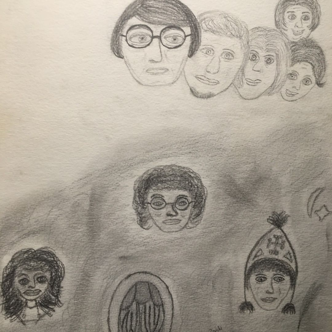 Drawing of a group of spirits